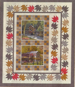 Two panels featuring barns are used with borders of maple leaves.