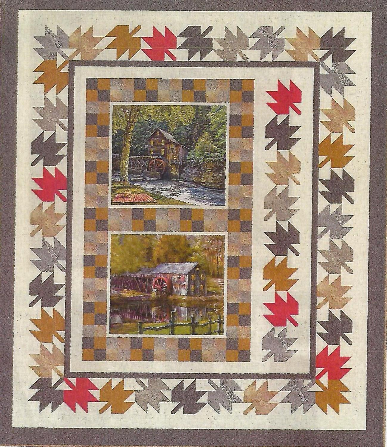 "Barns Quilt Kit, 65.5"" x 77.5"", Vanilla Background,  Backing not included."