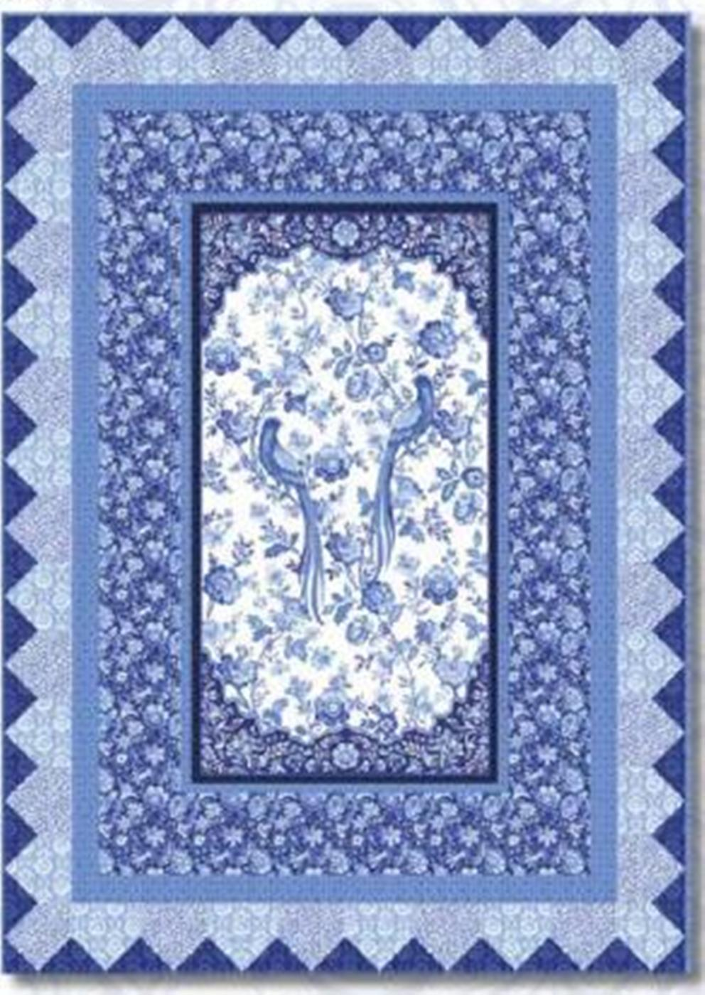 This kit features a center panel with long tailed birds and blue flowers.