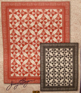 Red and white fabric make this optical illusion quilt.