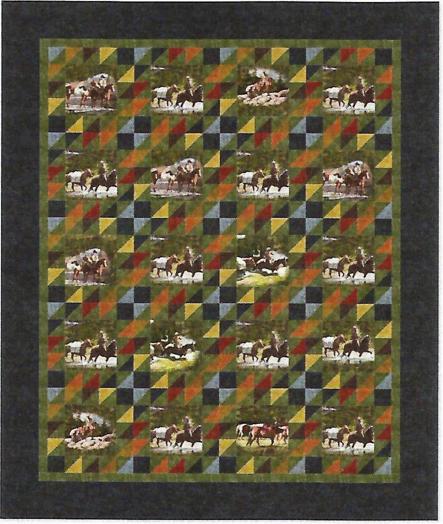round up, horses, cowboy, maywood studio, quilt kit, quilt, granite, high country crossing, throw, wallhanging.