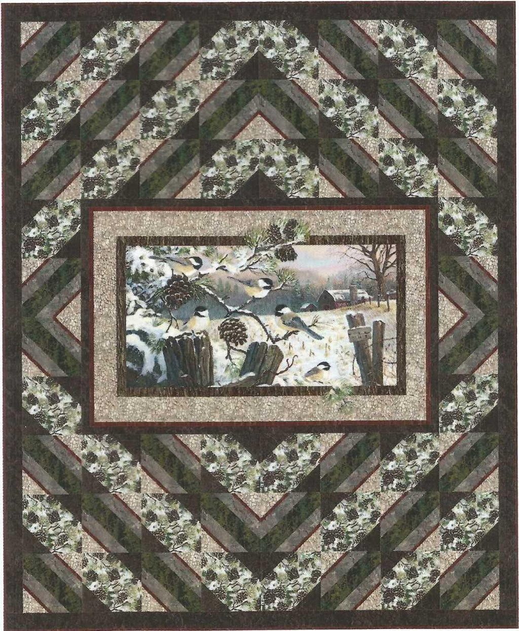 This quilt features winter chickadees, pine cones, and trees in a panel surrounded by diamond shaped borders.