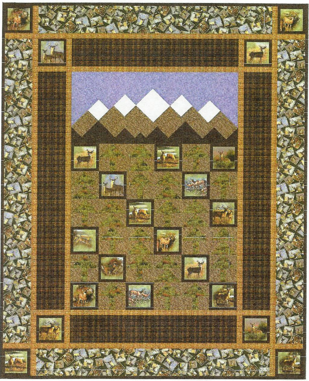 This kit has blocks of white tail deer which as placed amongst tree blocks under pieced mountains and sky.  The first border is plaid with a scattered framed deer print for the final border.  The deer include bucks, does and fawns.