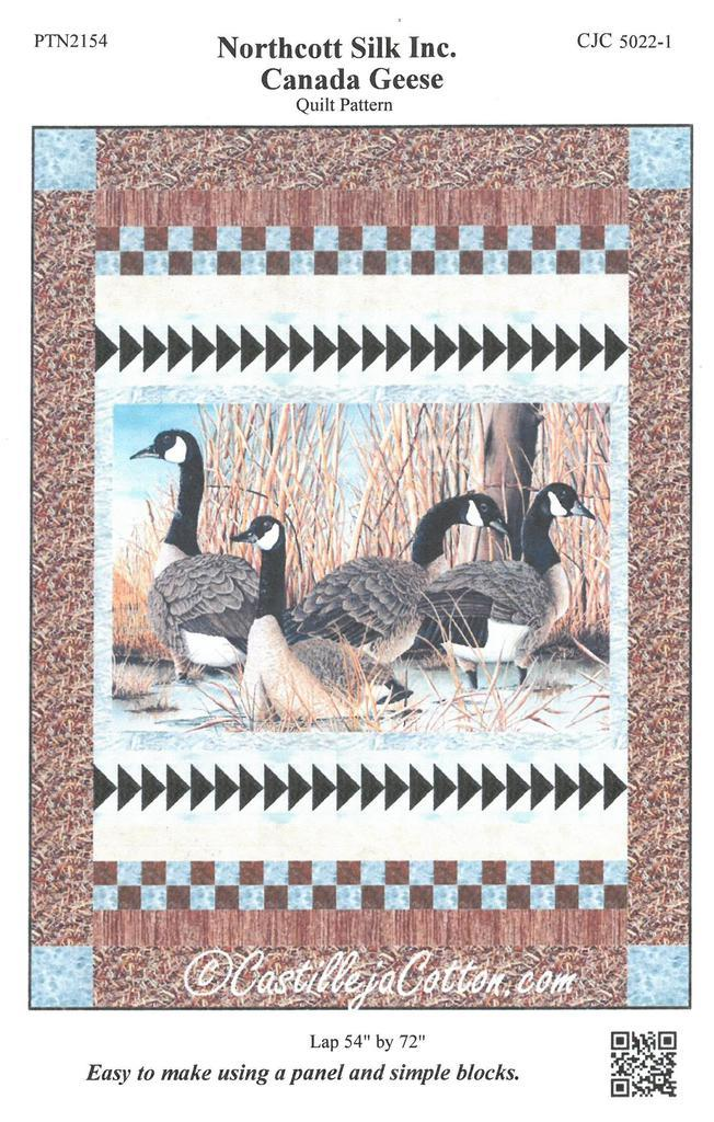 Horizontal panel of four canada geese are bordered on top and bottom by a flying geese border and a 4 patch border.