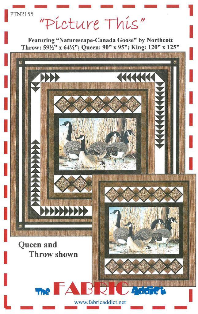 Horizontal panel features four canada geese which is bordered with a flying geese border.