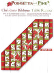 This holiday table runner showcases pointsettias and pine boughs in red, green and white.