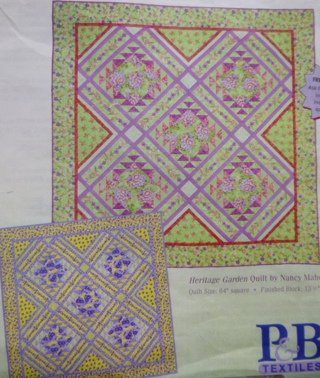 Heritage House Garden Quilt Kit, Yellow Colorway, Wall Hanging, Backing Included.