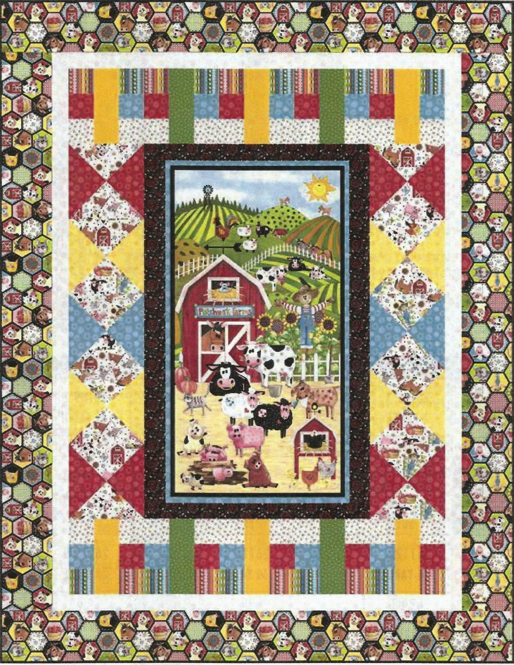 Patchwork farms kit has a farmyard panel showing cows, horses, pigs, sheep, chickens and a cat with a barn and mountains.