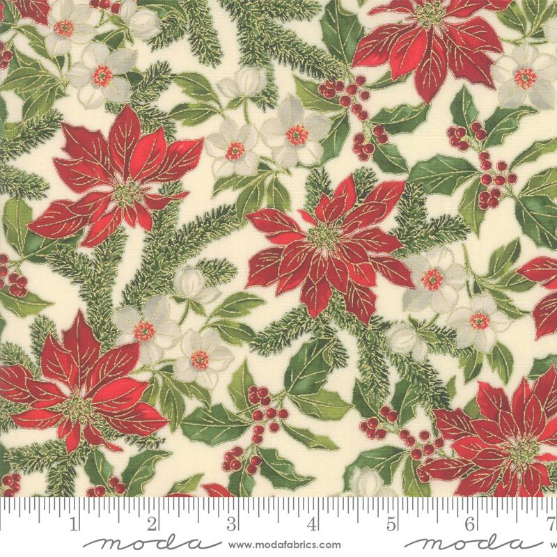 Poinsettias Pine Metallic, Poinsettias & Holly on Cream