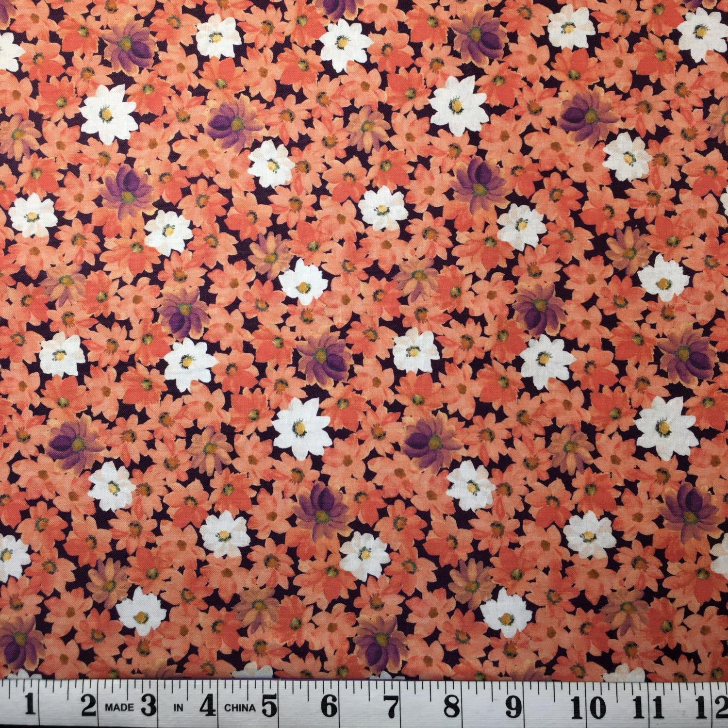 Lilian - Packed Floral Orange and White