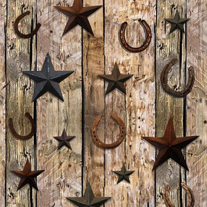 Sun Up to Sundown - Horseshoes & Stars on Barnwood