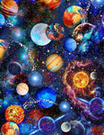 Funky Outerspace - Planets on Blue