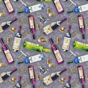 Market Medley - Wine Bottles on Gray