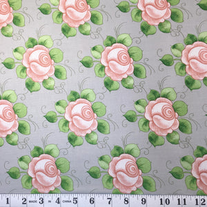 Hatters Tea Party - Pink Flowers on Gray
