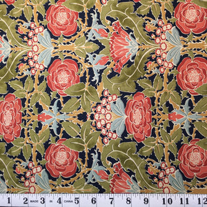 Voysey 2018 - Orange Floral on Indigo
