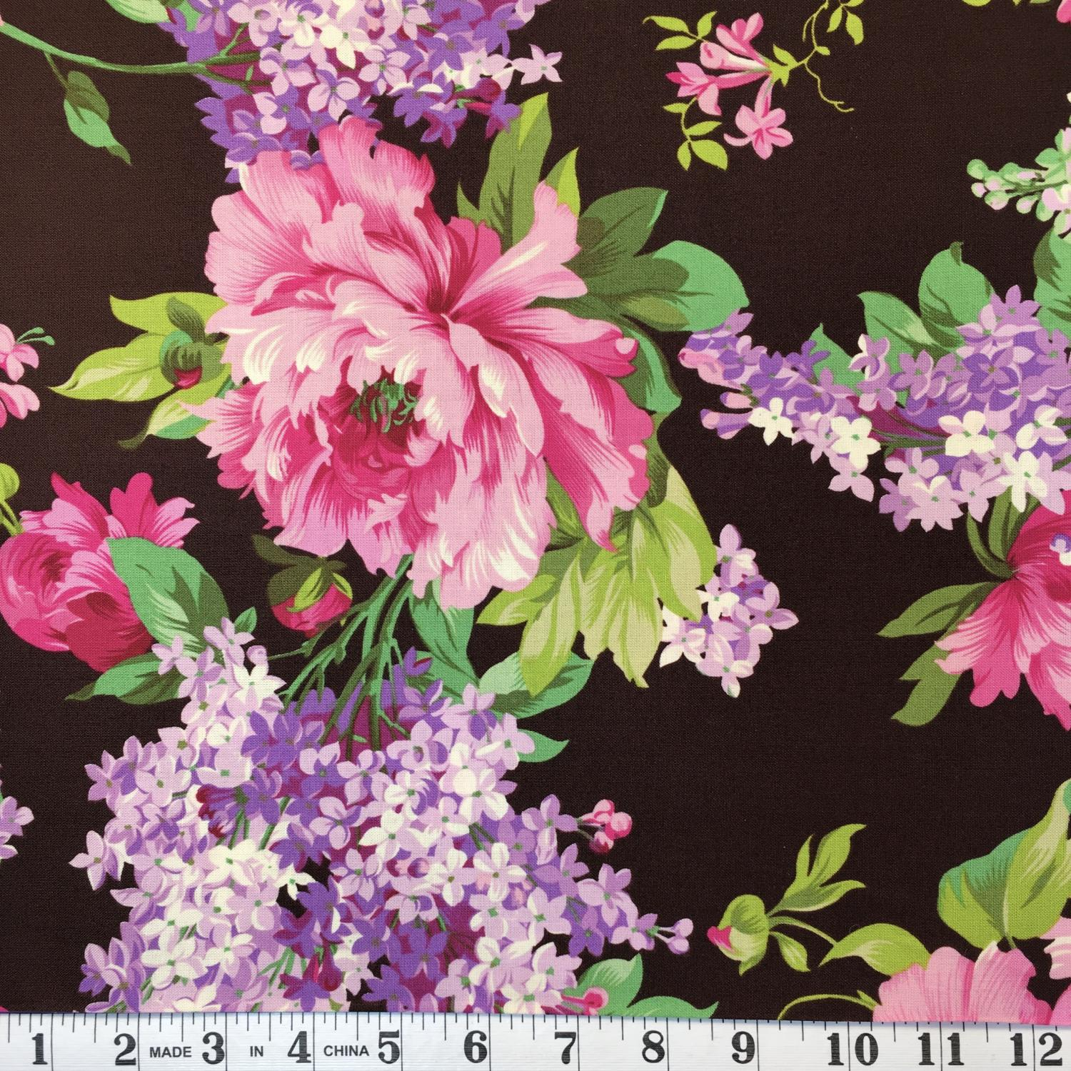 Pink & Lavender Floral on Chocolate Brown