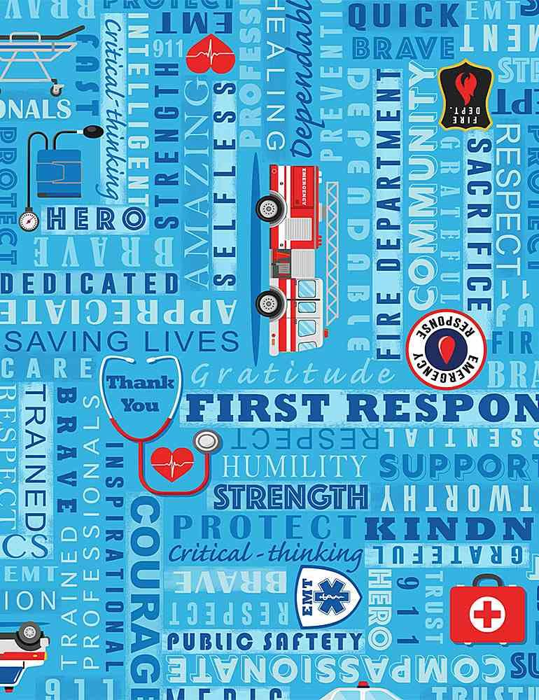 First Responders, Words and Emblems on Blue