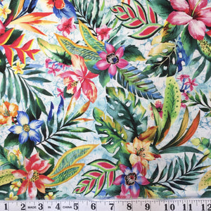 Tropic - Pink & Blue Floral with Green Leaves