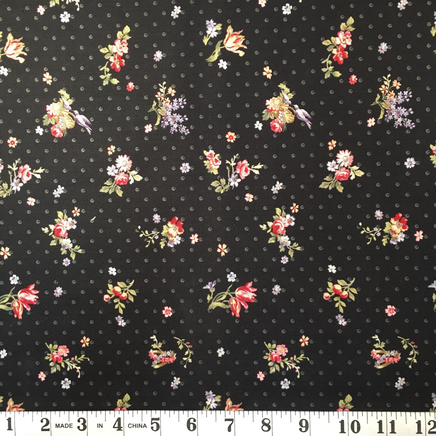 Penelope - Medium Pink Floral on Black