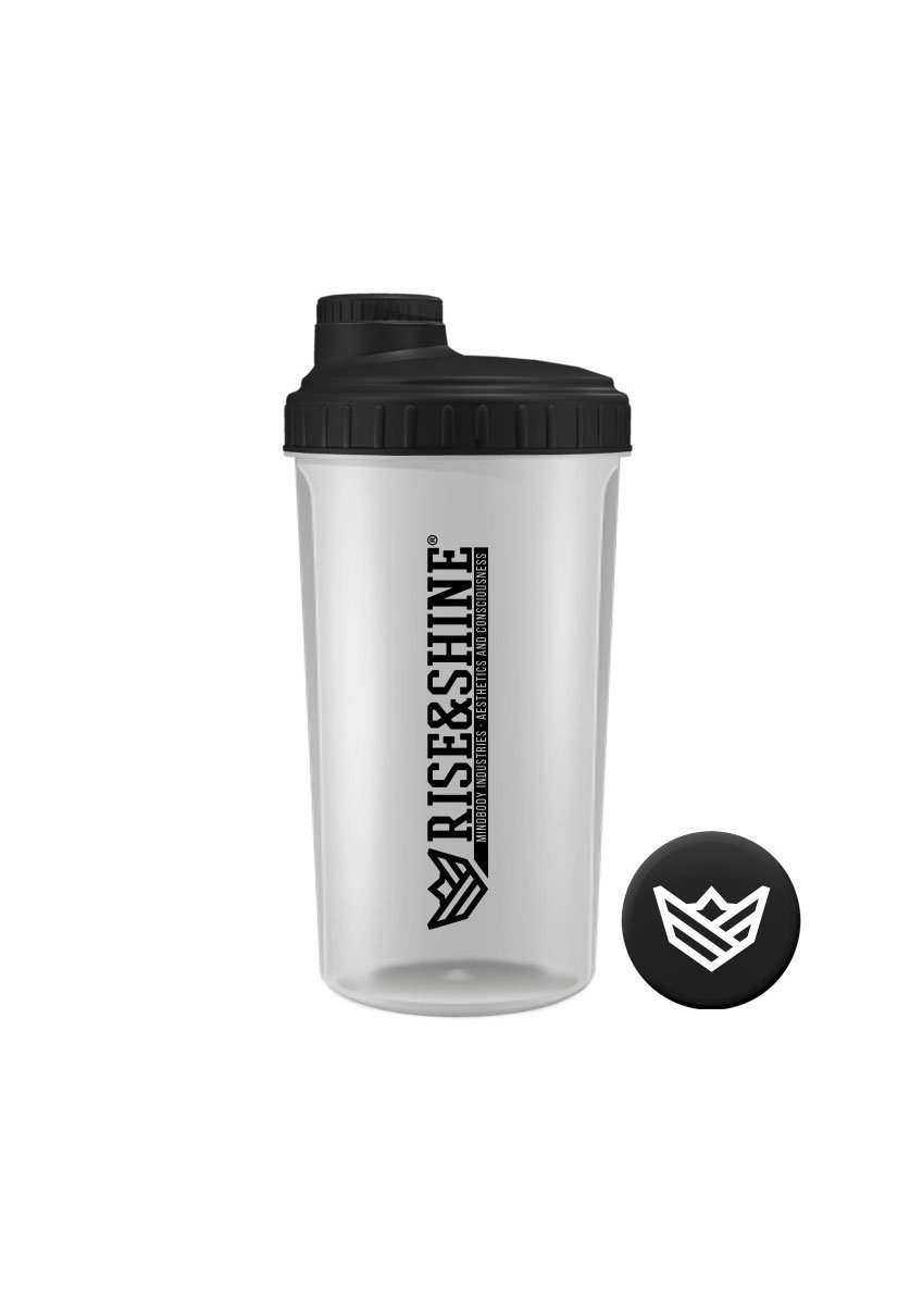 Mezclador 700ml / 24oz Mezclador Rise&Shine Mindbody Industries Transparente y Tapa Negra / Transparent & Black Lid