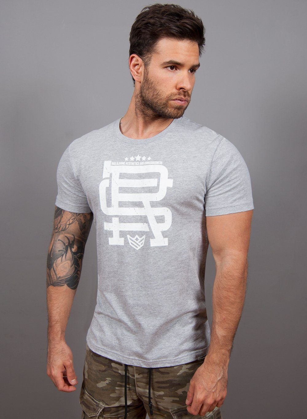 """RS Monograma"" Camiseta - 4 Colores Disponibles Camiseta de Hombre Rise&Shine Mindbody Industries S Gris"