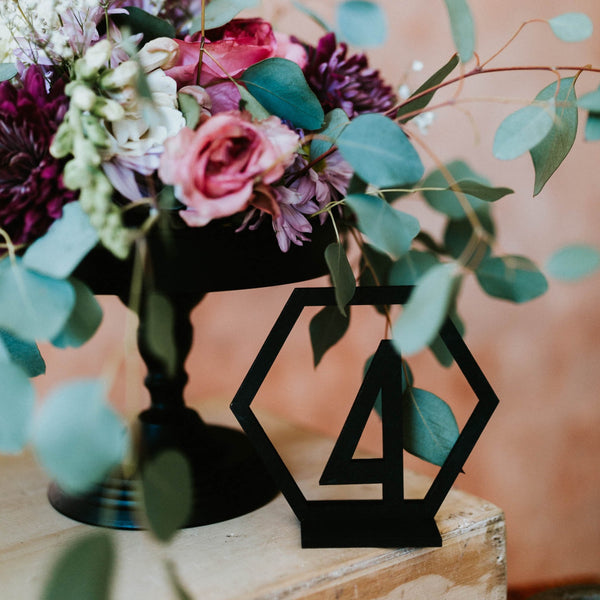 Black Geometric Wedding Table Numbers