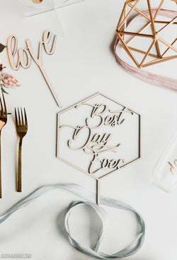 Geometric Best Day Ever Cake Topper