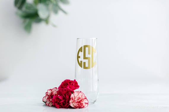 Single personalized monogram bridal party champagne flute.