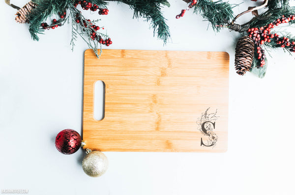 Single Monogram Engraved 10x14 Chopping Board