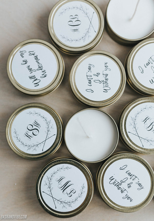Personalized bridal bridesmaid proposal, monogram natural soy hand poured candles.
