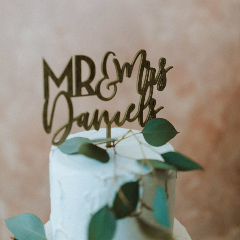 Mr. and Mrs. Last Name Cake Topper