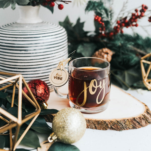 Joy Holiday Glass Mug