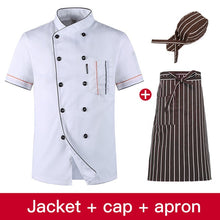 Load image into Gallery viewer, Wholesale Restaurant Kitchen Chef Uniform Shirt Breathable Double Breasted Chef Jacket+cap+apron works clothes for men Unisex