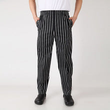 Load image into Gallery viewer, Breathable Chef pants striped trousers white black chef clothing special tooling elastic waist chef work pants for men and women