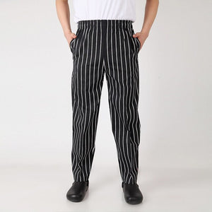 Breathable Chef pants striped trousers white black chef clothing special tooling elastic waist chef work pants for men and women
