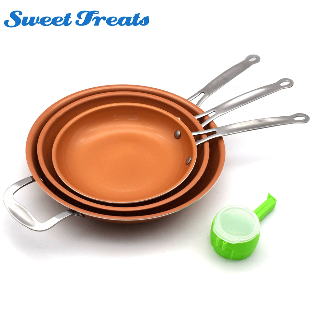 A Set 8/10/12 inch Non-stick Copper Frying Pan Ceramic Coating