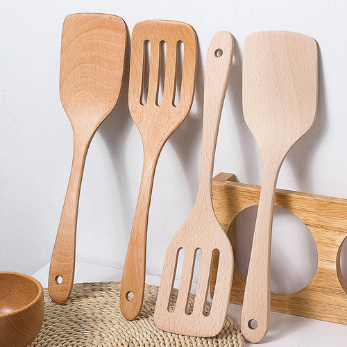 Wooden Cooking Utensils Long Handle Wood Spatula Slotted Turner Non-Stick Pancake Shovel Kitchen Cooking Tools Wood