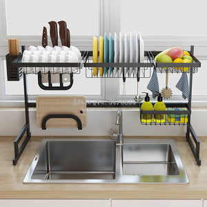2 Layers Multi-use Stainless Steel Dishes Rack Stready Sink Drain Rack Kitchen Oragnizer Rack Dish Shelf  Sink Drying Rack Black