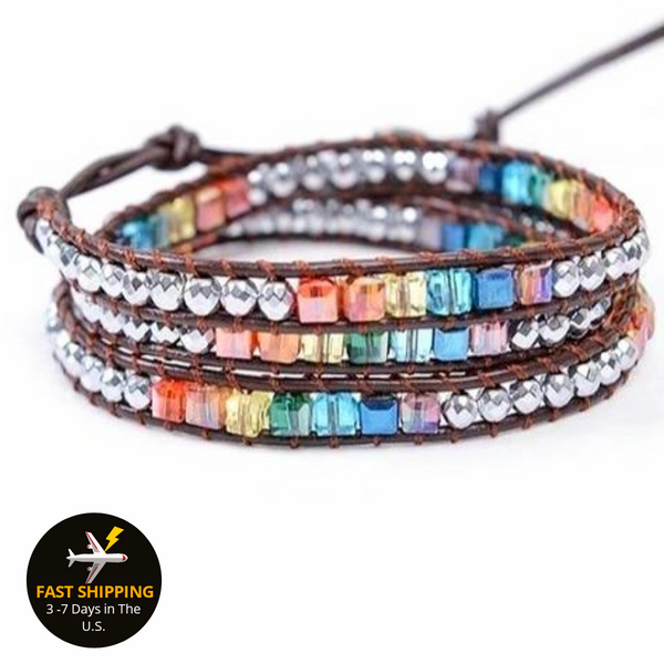 Rainbow Crystals  - Hand Made Multi Layered Bohemain Wrap Bracelet