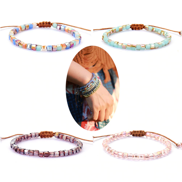 Hand Made - Crystal Beaded Boho Bracelet - Stacking Bracelets