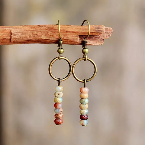 Vintage Natural Jasper Beaded Earrings