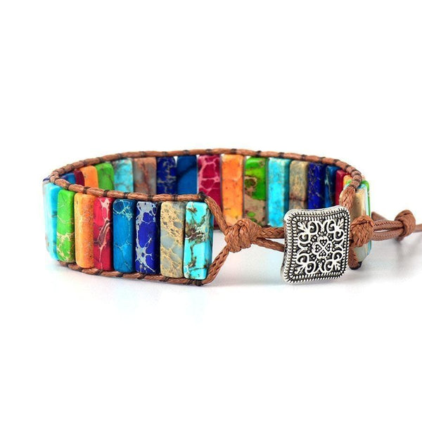 Rainbow beads - jasper stone Leather Wrap Bracelet