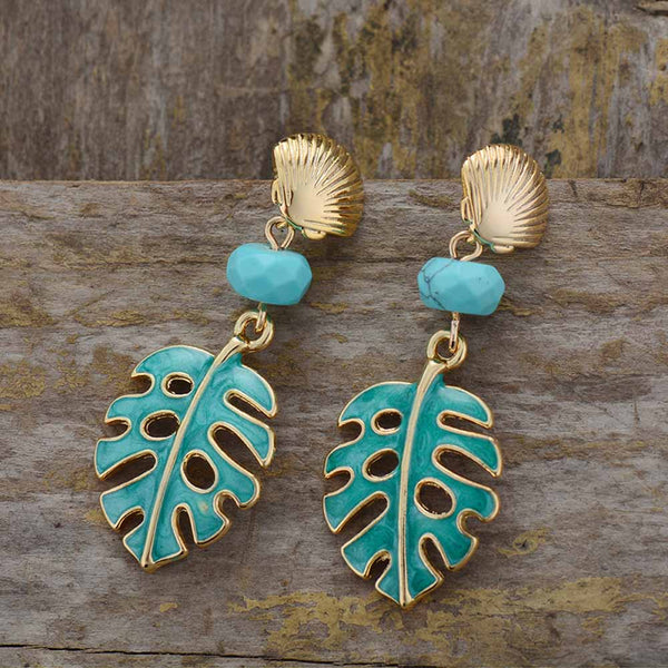Bohemian Spring Leaves Dangle Earrings - Turquoise Beads and ocean Shells