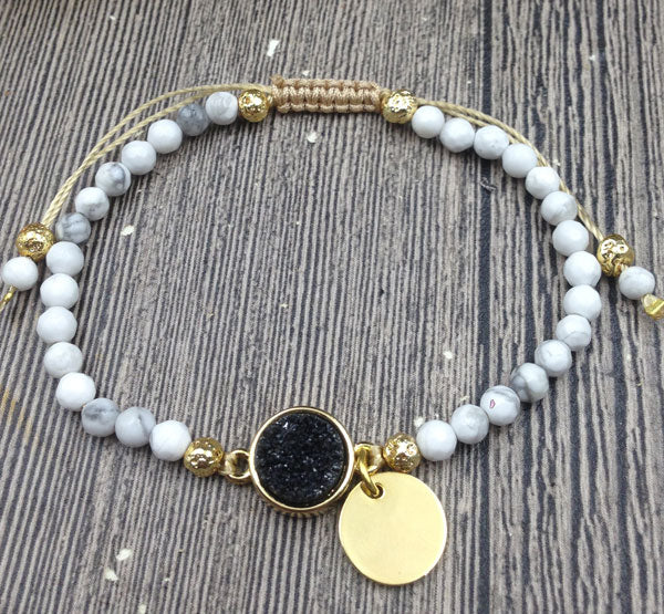 Black & White -  Marble Turquoise Adjustable Bracelet