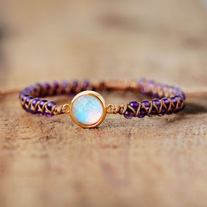 The Charming Moon  - Amethyst Braided Bracelet