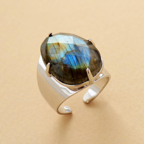Ring OF North Magic - Labradorite Natural Stone Adjustable Boho Ring