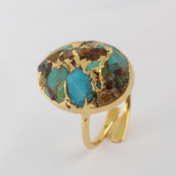 Ring of Wealth - Natural Turquoise Gold plated Boho Ring