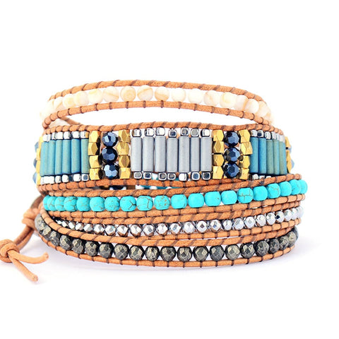 Boho Queen 5 Layered Leather Wrap Bracelet