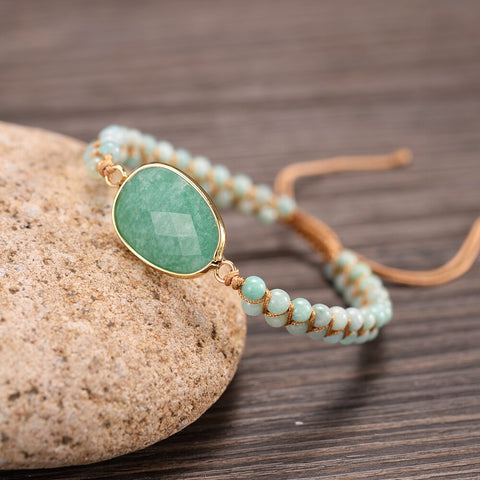 Faceted Amazonite - Double Braided Beads - Handmade Bracelets