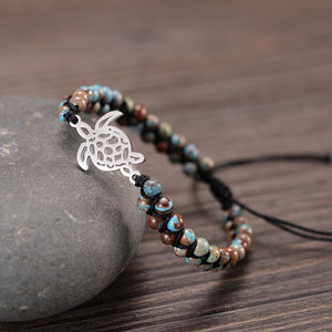 Sea Turtle Charm - Double braided Beads - Handmade  Bracelets